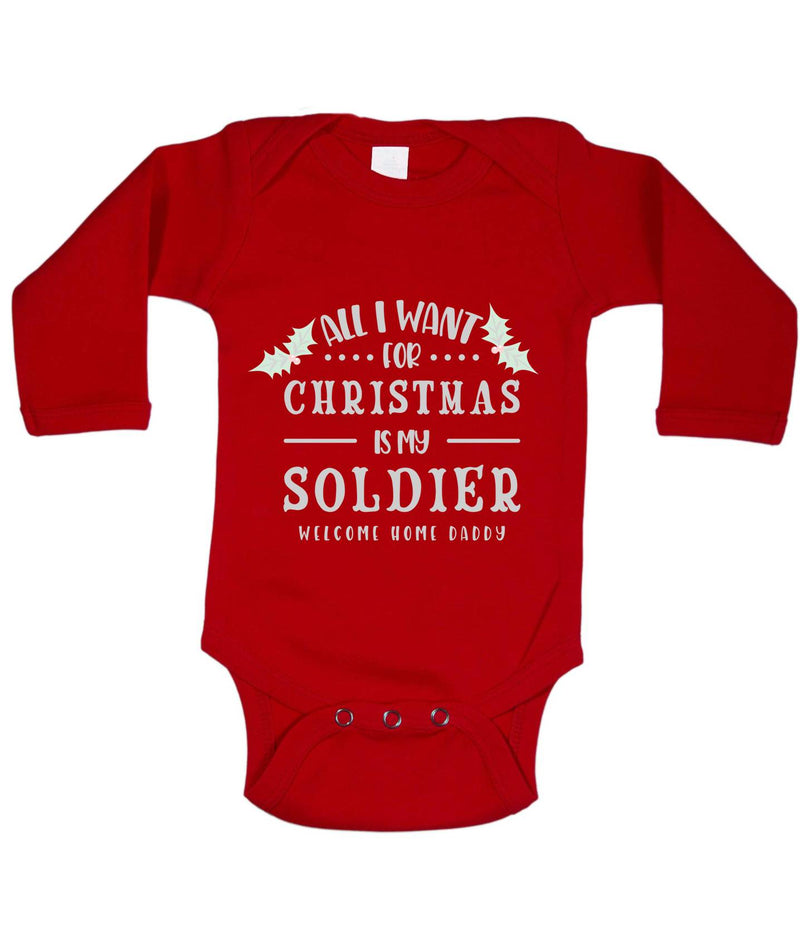 Soldier Daddy Printed Red Christmas Customizable Romper
