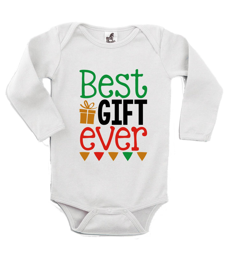 Best Gift Ever Printed White Christmas Customizable Romper
