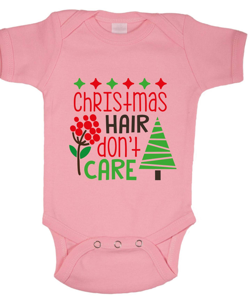 Christmas hair Don't Care Printed Pink Christmas Customizable Romper