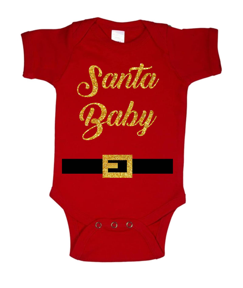 Santa Baby Printed Gold and Red Christmas Customizable Romper