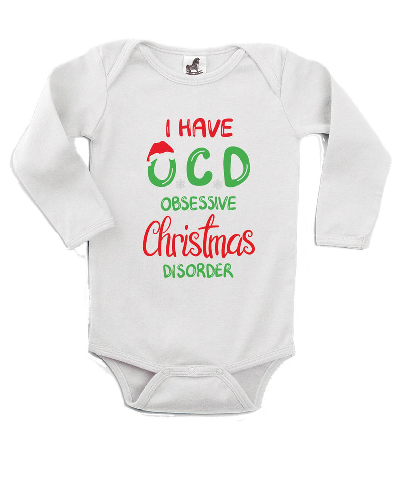 Obsessive Christmas Disorder Printed White Christmas Customizable Romper