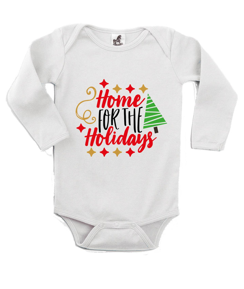 Home For the Holiday's Printed White Christmas Customizable Romper