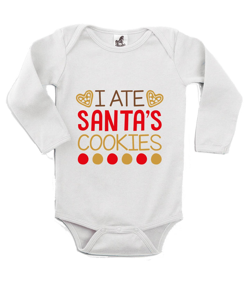 I Ate Santa's Cookies Printed White Christmas Customizable Romper