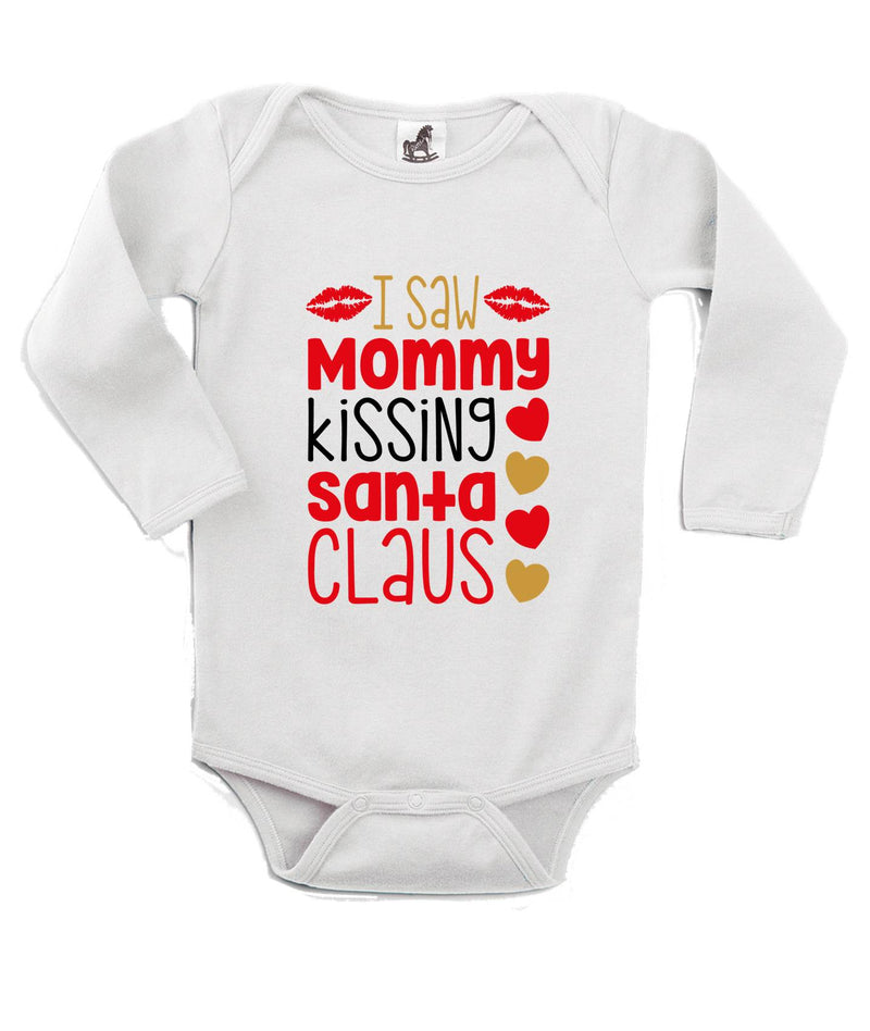 Mommy Kissing Santa Printed White Christmas Customizable Romper