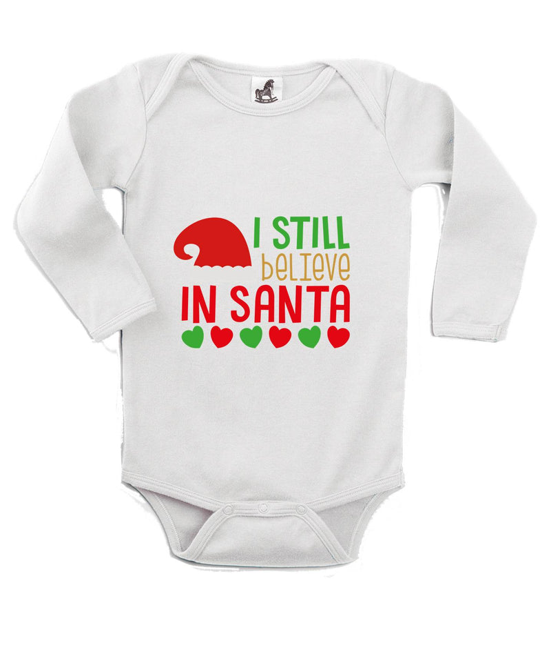 I Still Believe in Santa Printed White Christmas Customizable Romper