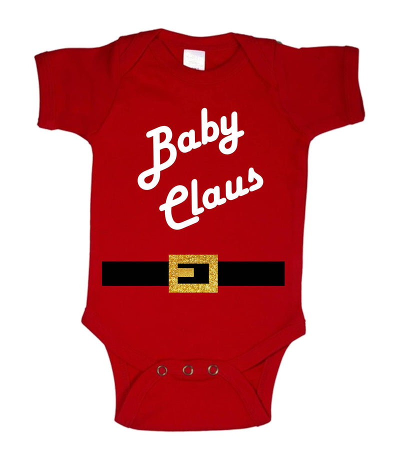 Baby Claus Printed White and Red Christmas Customizable Romper