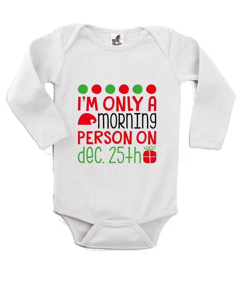 Morning Person for 25th December Printed White Christmas Customizable Romper