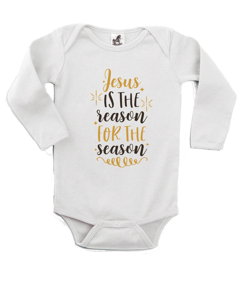Jesus is the reason for the Season Printed White Christmas Customizable Romper