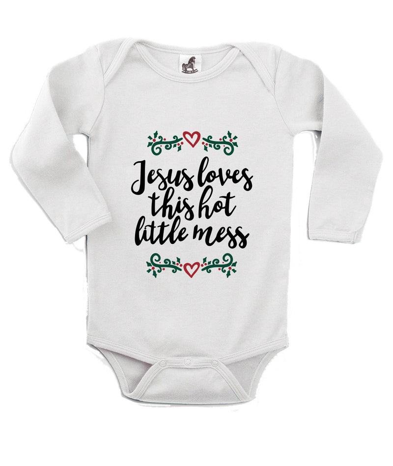 Jesus Loves this Hot Little Mess Printed White Christmas Customizable Romper