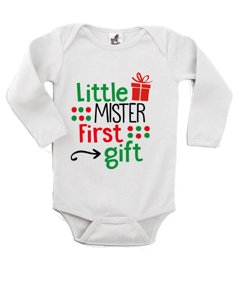 Little Mister First Gift Printed White Christmas Customizable Romper