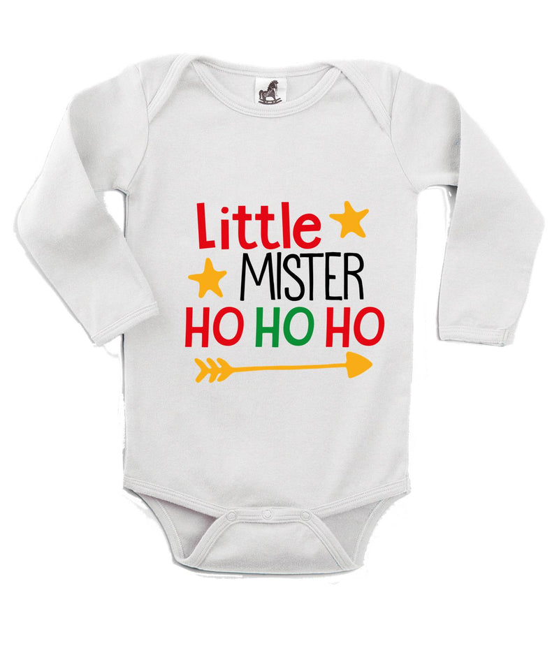 Little Mister Ho Ho Ho Printed White Christmas Customizable Romper