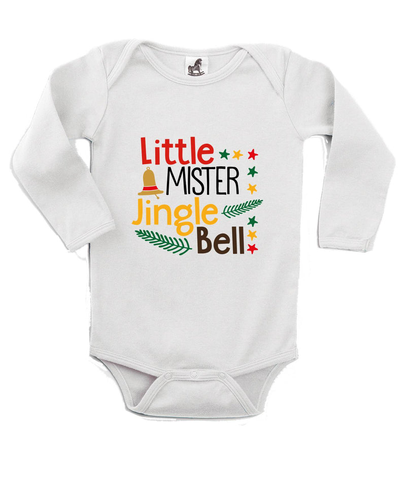 Little Mister Jingle Bell Printed White Christmas Customizable Romper
