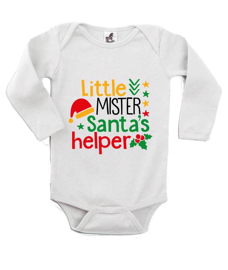Santa's Helper Printed White Christmas Customizable Romper