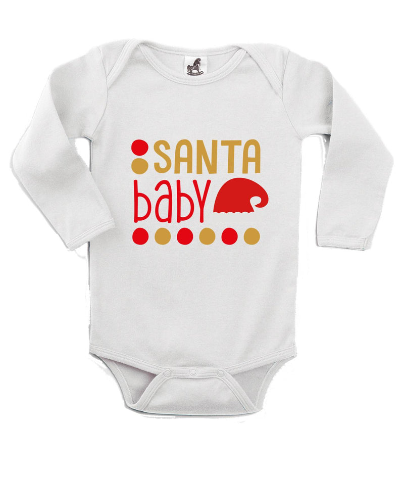 Santa Baby Printed White Christmas Customizable Romper