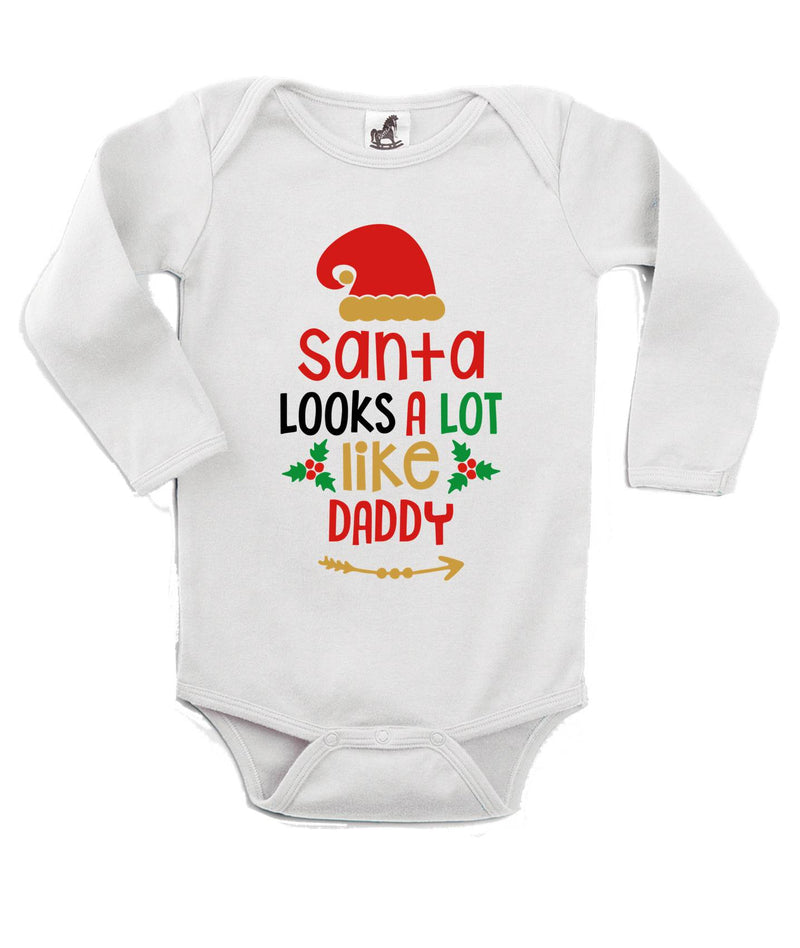 Santa Looks Like Daddy Printed White Christmas Customizable Romper