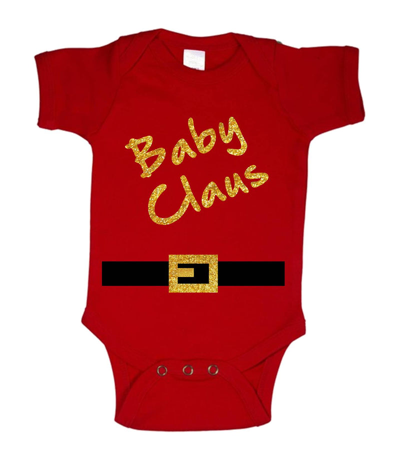 Baby Claus Printed Gold and Red Christmas Customizable Romper