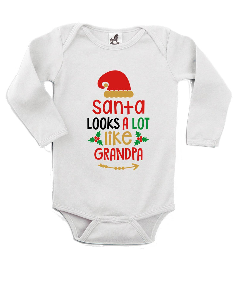 Santa Looks Like Grandpa Printed White Christmas Customizable Romper