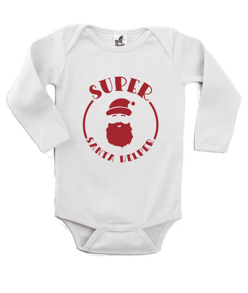 Super Santa Helper Printed White Christmas Customizable Romper