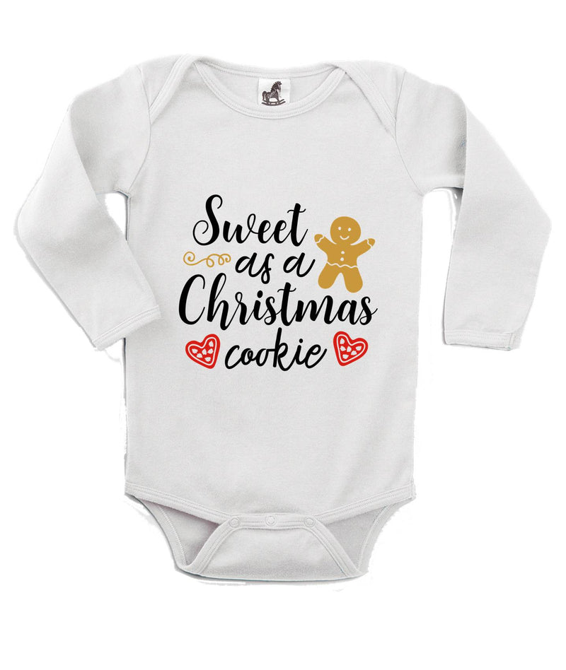 Sweet as a Christmas Cookie Printed White Christmas Customizable Romper