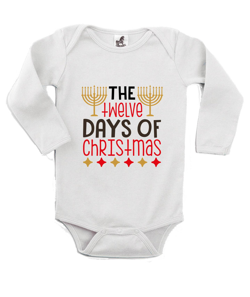 The Twelve Days of Christmas Printed White Christmas Customizable Romper