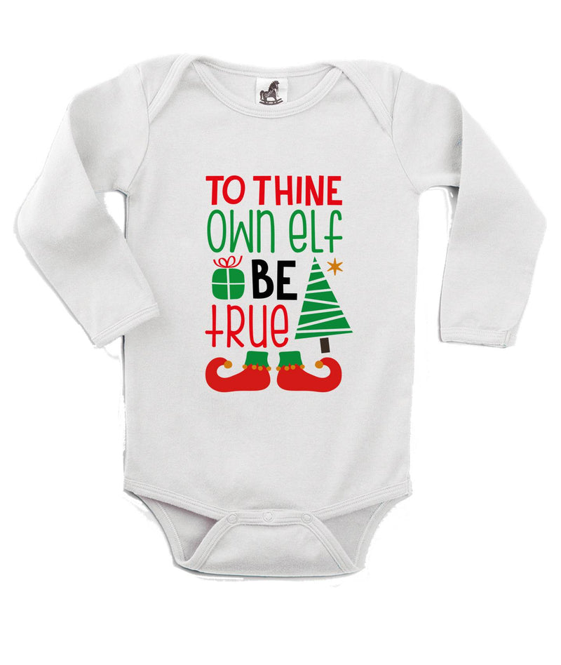 To Thine Own Elf Be True Printed White Christmas Customizable Romper