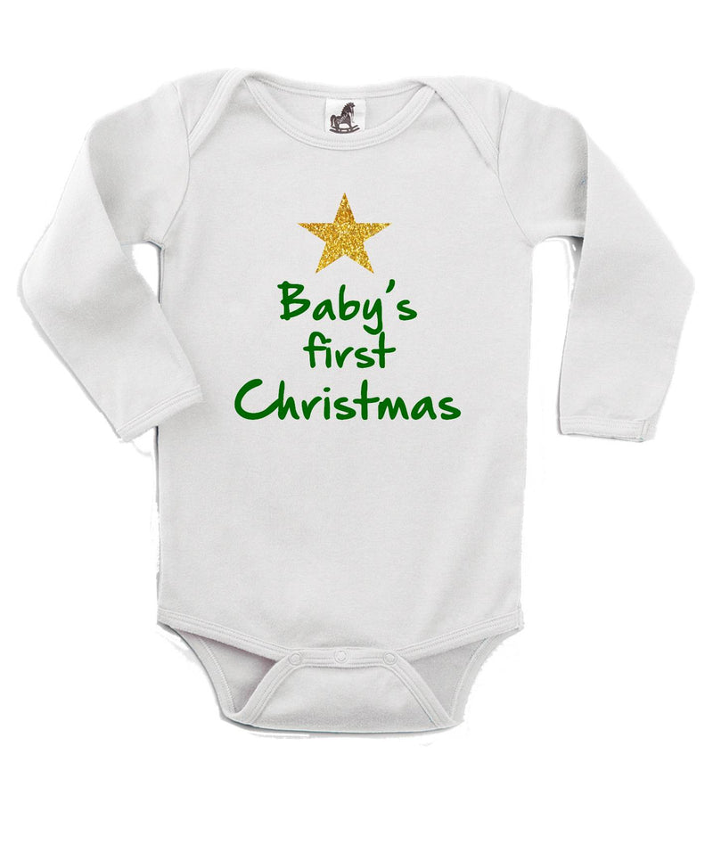 Baby's First Christmas Printed Green and White Christmas Customizable Romper