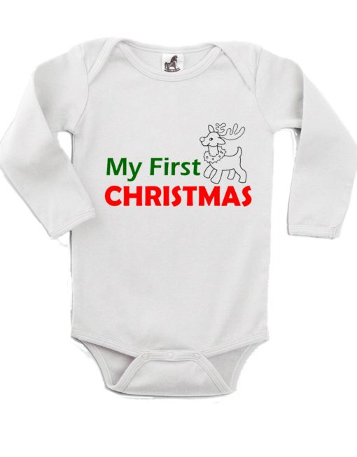 My First Christmas Reindeer Printed White Christmas Customizable Romper