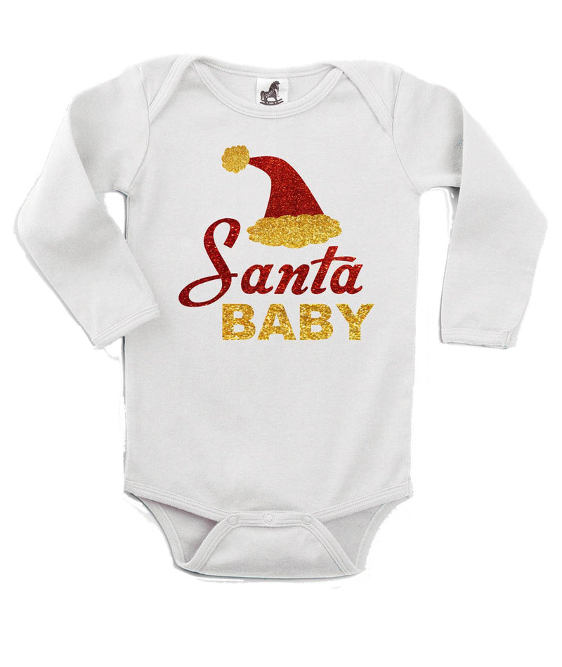 Santa Baby Glitter Printed White Christmas Customizable Romper