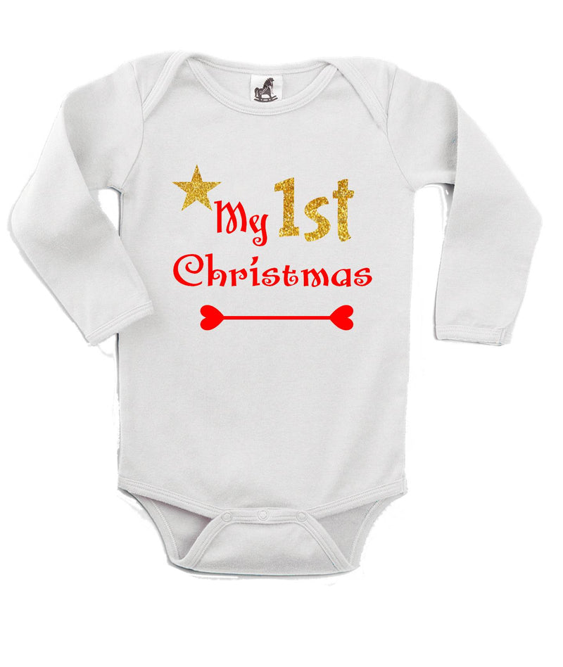 My 1st Christmas Printed White Christmas Customizable Romper