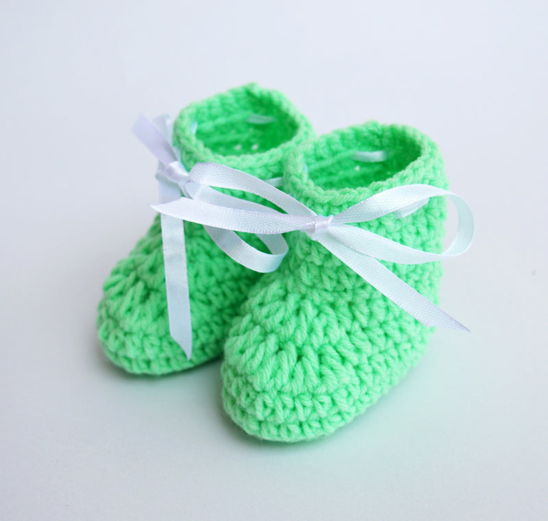 Love Crochet Art Pista Green Knitted Ankle Booties