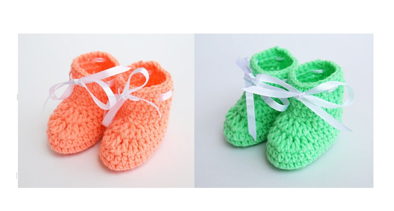 Love Crochet Art Peach and Pista Green Knitted Combo Ankle Booties