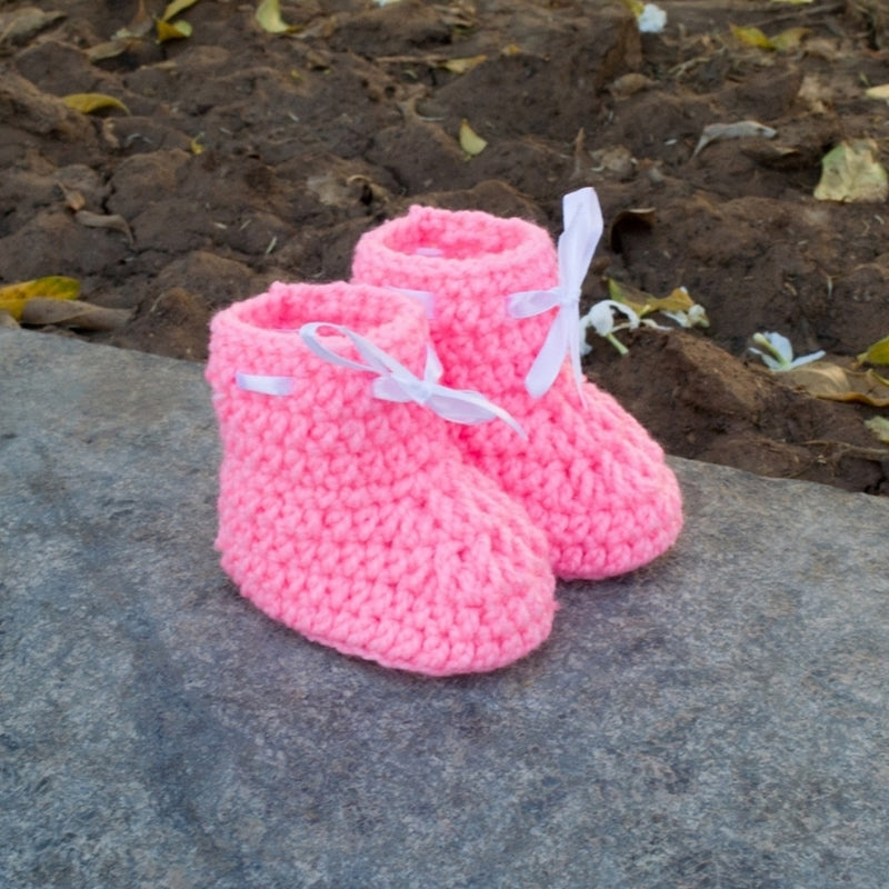 Love Crochet Art Light Pink Knitted Ankle Booties