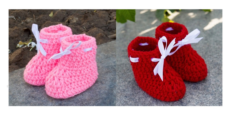 Love Crochet Art Red and Light Pink Knitted Combo Ankle Booties