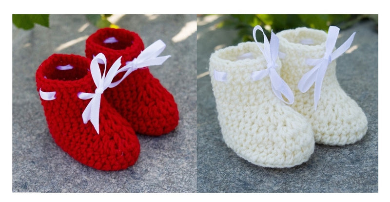 Love Crochet Art Red and Off White Knitted Combo Ankle Booties