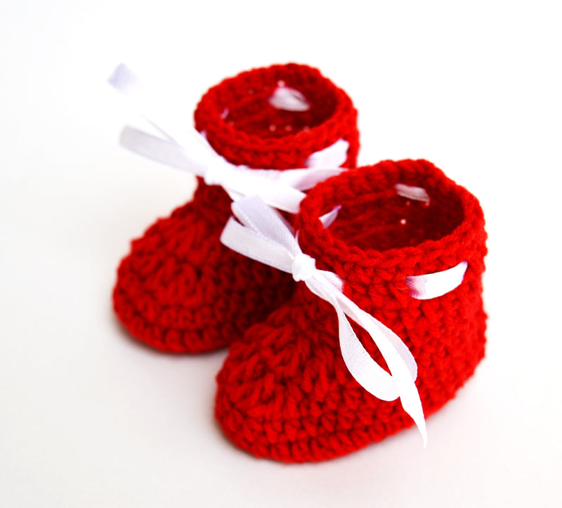 Love Crochet Art Red and White Knitted Ankle Booties