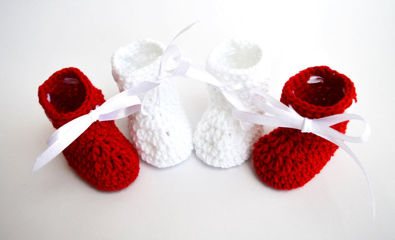 Love Crochet Art Red and White Knitted Combo Ankle Booties