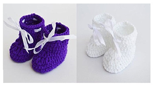 Love Crochet Art White and Ink Blue Knitted Combo Ankle Booties