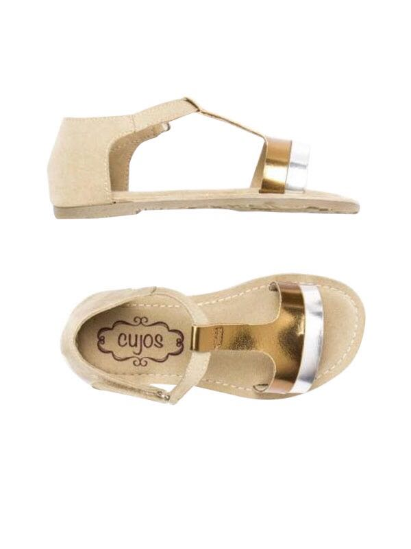 Cujos Pego Metallic Design Sandals - Golden