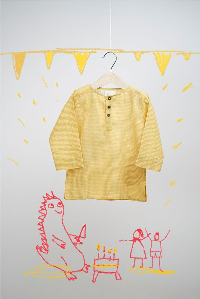Dinosaur Pyjama Party - Yellow Checks Kurta