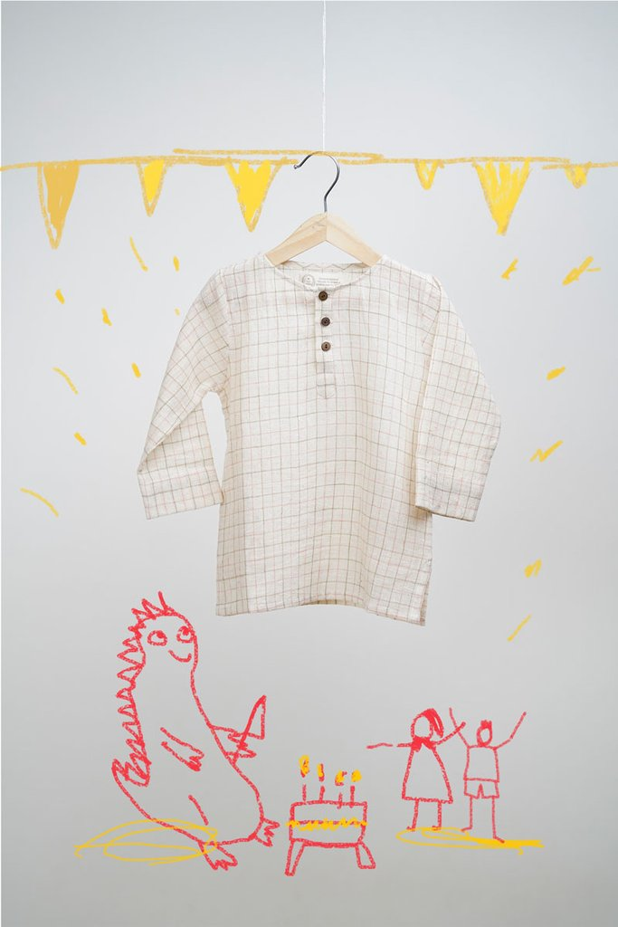 Dinosaur Pyjama Party - Beige and Pink Checks Kurta