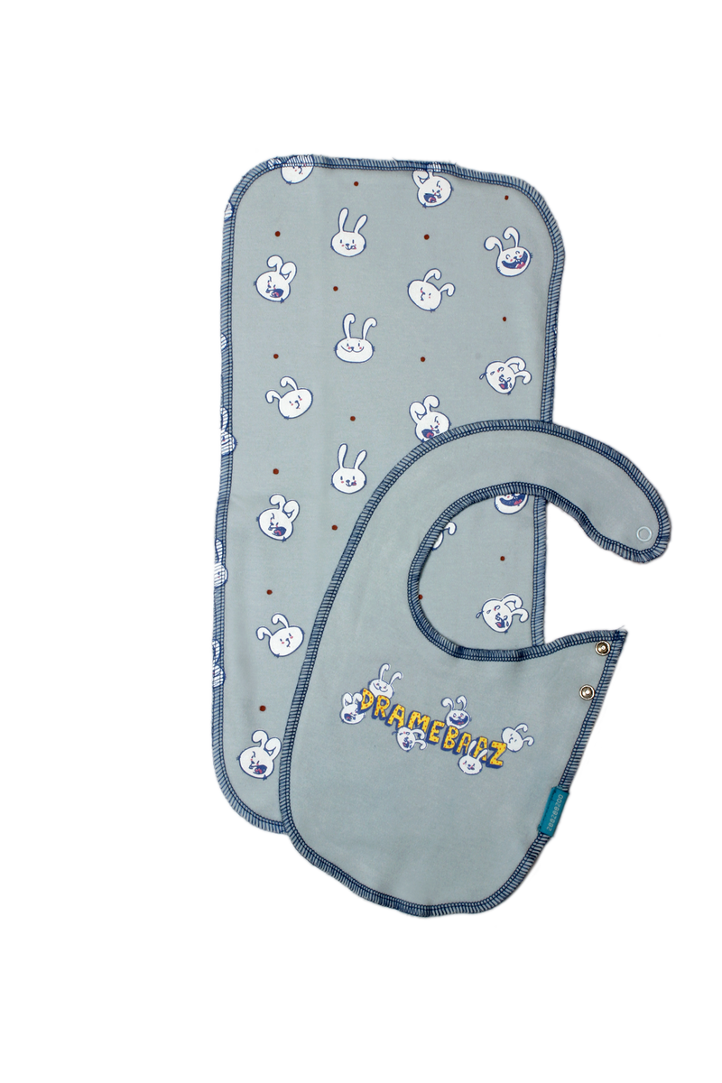 Zeezeezoo The Dramebaaz Bunny Bib and Burp Cloth Set