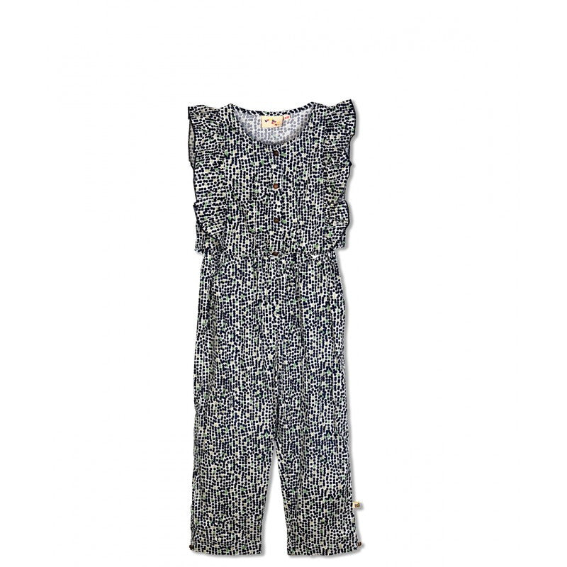 Budding Bees Girls Blue All Over Printed Jumpsuit
