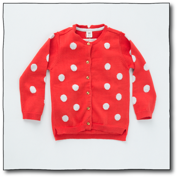 Milk teeth Girls' Orange Polka Cardigan