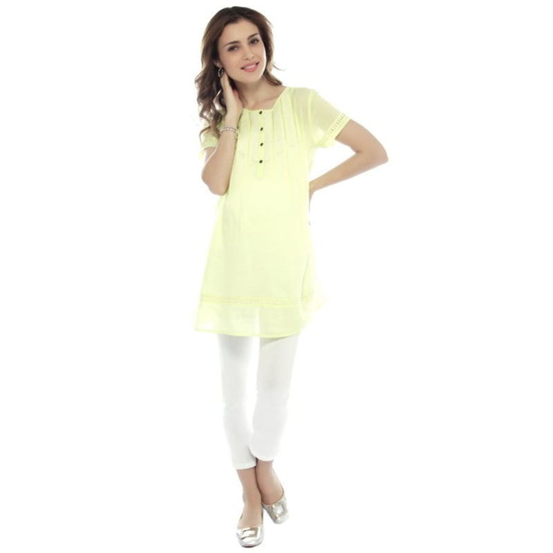 Nine Maternity Yellow Tunic with Lace