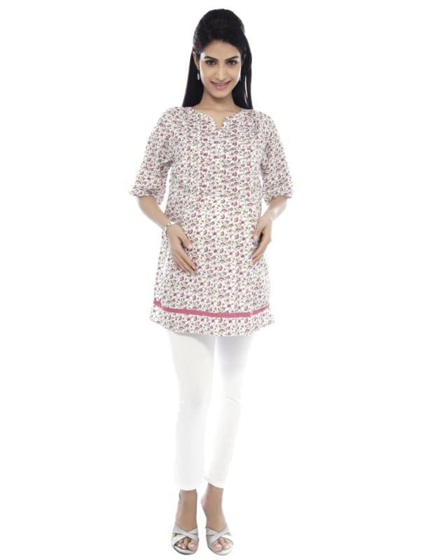 Nine Maternity White and Pink Soft Cotton Tunic