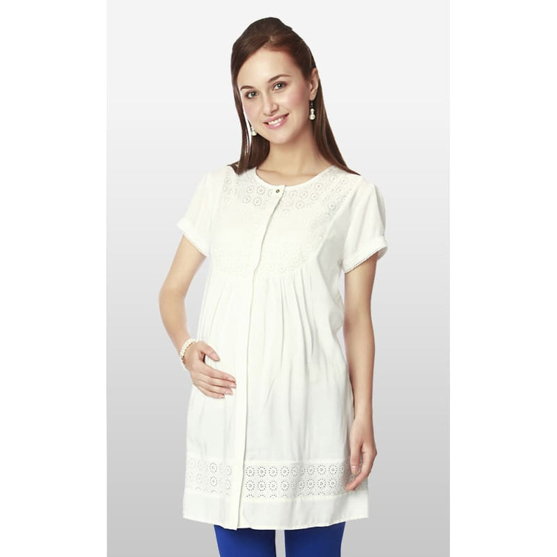 Nine Maternity White Tunic with Lace