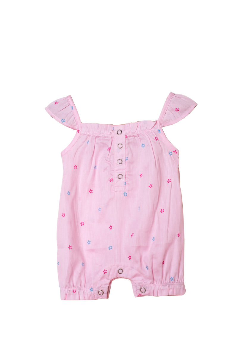 Popsicle & Nigh Nigh Girls Pink Kitty Floral Printed Rompers