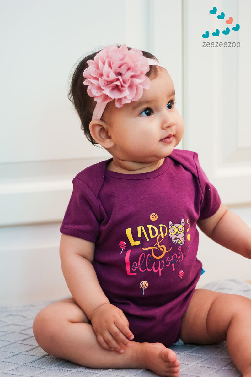 Zeezeezoo Kids Purple Laddoos & Lollipop Printed Onesie