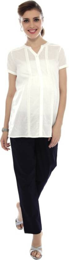 Nine Maternity White Dobby Blouse