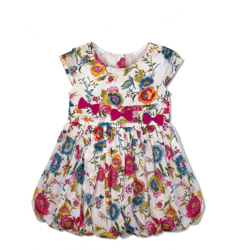 Budding Bees Multicolor Floral Printed Balloon Dress